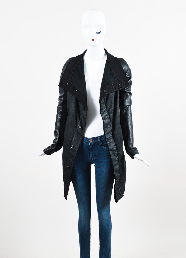 "DRKSHDW Rick Owens Black Leather Wax Cotton Draped Neck ""Exploder"" Jacket Frontview"