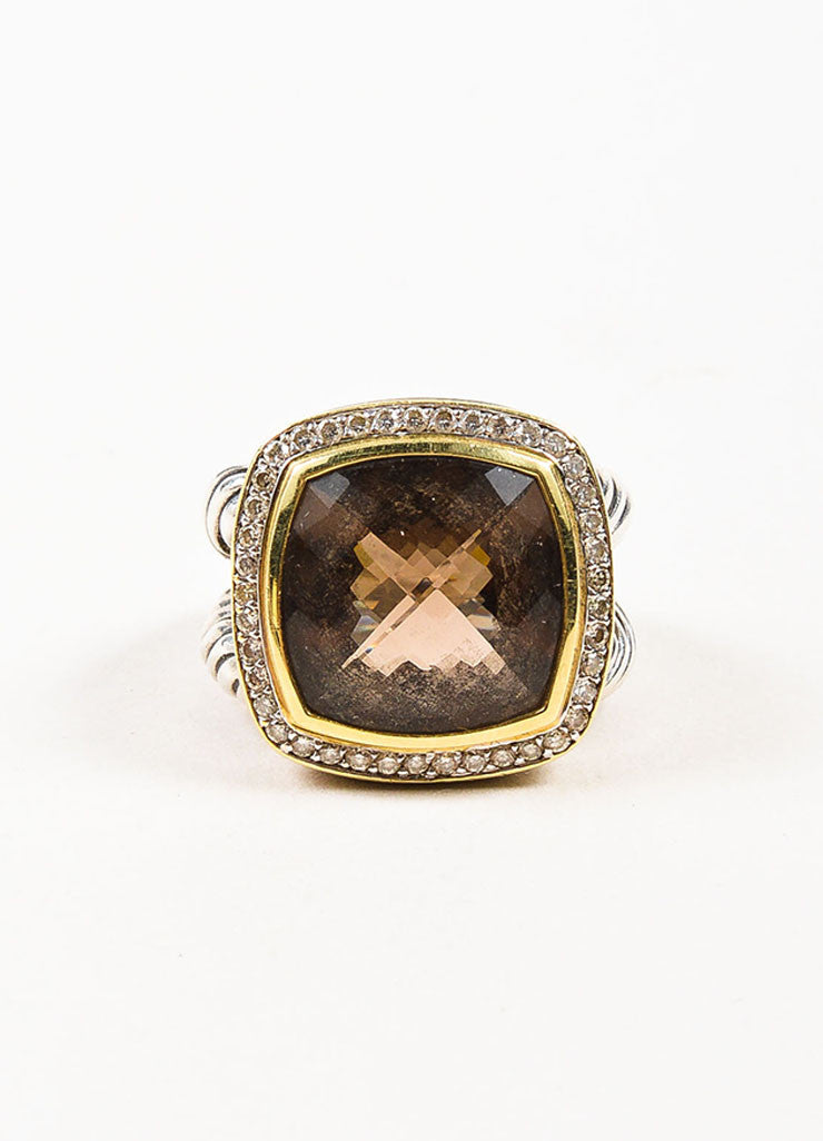 "David Yurman Sterling Silver, 18K Gold, and Smoky Quartz Diamond ""Albion"" Ring Frontview"