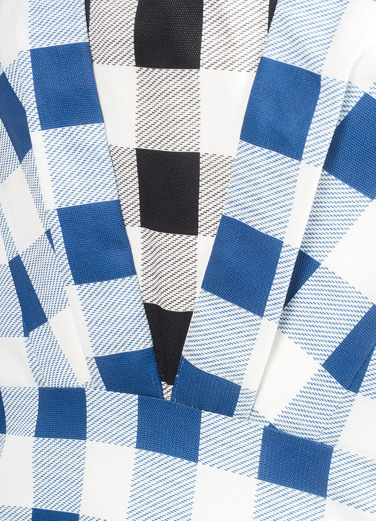 Derek Lam New With Tags Blue and White Checkered Plaid Silk Blend Sleeveless Dress Detail