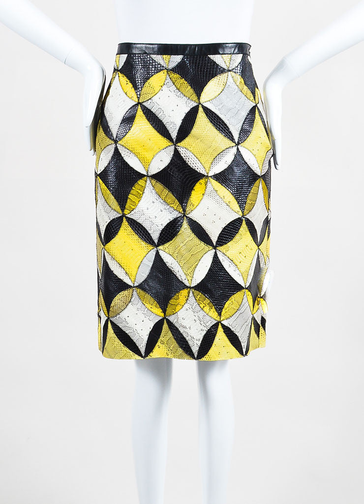 Yellow, White, and Black Derek Lam Seasnake Leather Pencil Skirt Frontview