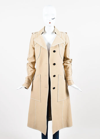 Beige and White Derek Lam Silk Blend Patch Pocket Trench Coat  Frontview