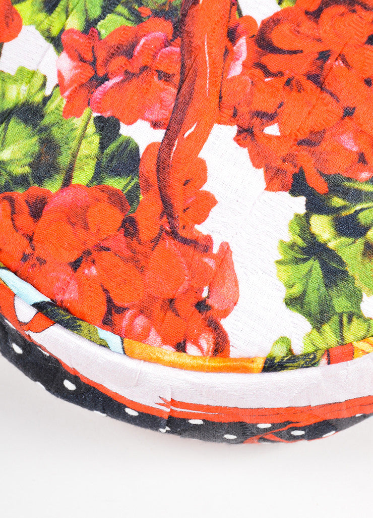 "Dolce & Gabbana Pink, Red, and Green Floral and Fruit Round ""Glam"" Crossbody Bag Detail"