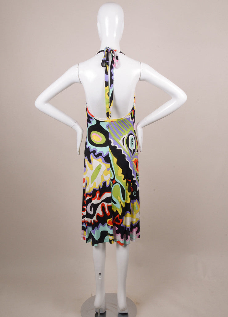 Emilio Pucci Black, White, and Red Abstract Print Cowl Neck Halter Dress Backview