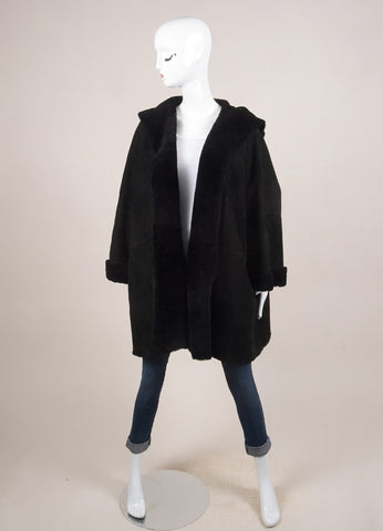 Eskandar Black Suede Shearling Hooded Oversized Coat Frontview