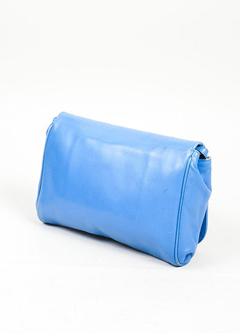 Blue Fendi Leather Convertible Crossbody Clutch Clasp Closure Baguette Bag Backview