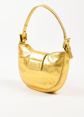 "Fendi Gold Metallic Leather Clear Square Crystal ""Mini Croissant"" Bag Sideview"