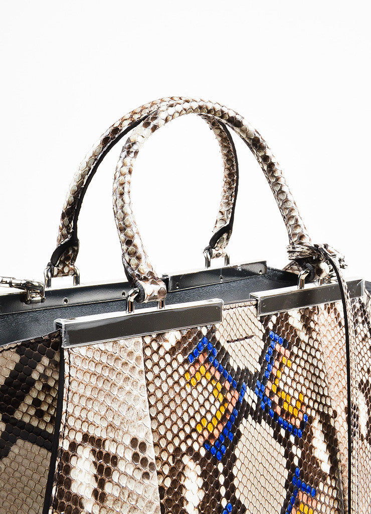 "Fendi Black, White, and Multicolor Python ""3Jour Mini"" Satchel Bag Detail 2"