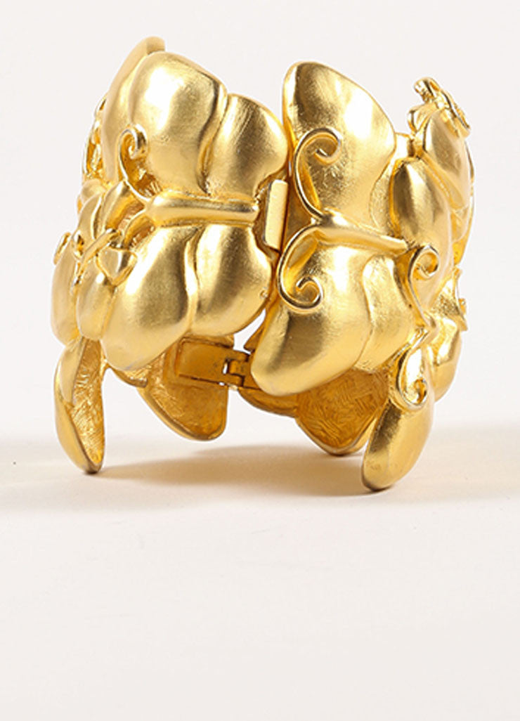Givenchy Matte Gold Toned Chunky Butterfly Statement Bracelet  Frontview