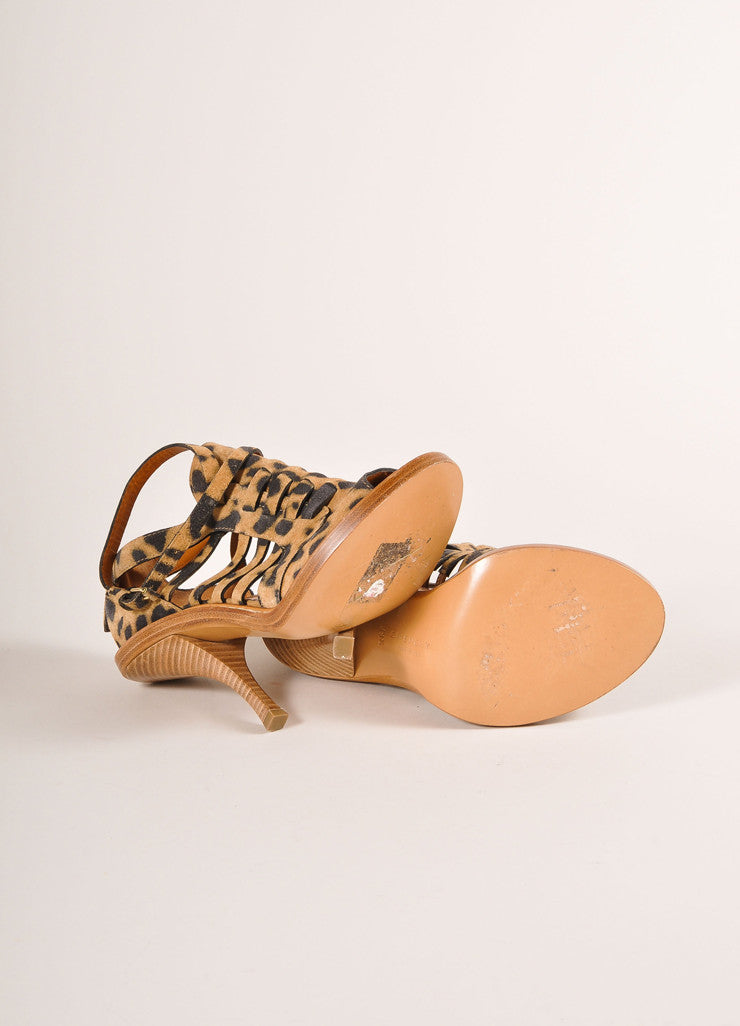 Givenchy Leopard Print Suede Strappy Cage Peep Toe Heels Outsoles