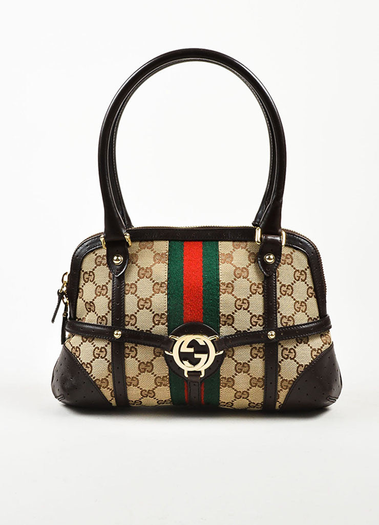 "Gucci Brown and Tan Canvas and Leather Monogram Striped ""Reins"" Shoulder Bag Frontview"