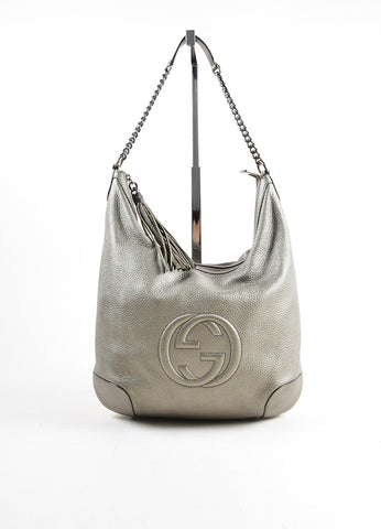 "Gucci Metallic Silver Pebble Leather Logo ""Soho"" Chain Strap Hobo Bag Frontview"