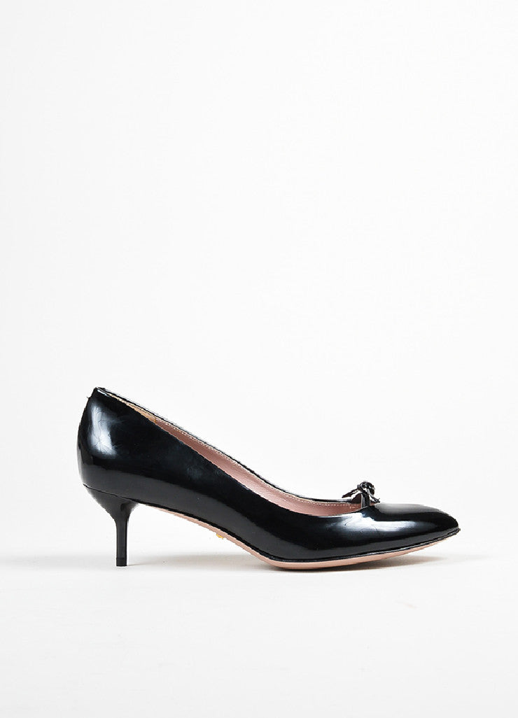 "Black Gucci Patent Leather Bow Pointed Toe ""Beverly"" Heel Pumps Sideview"