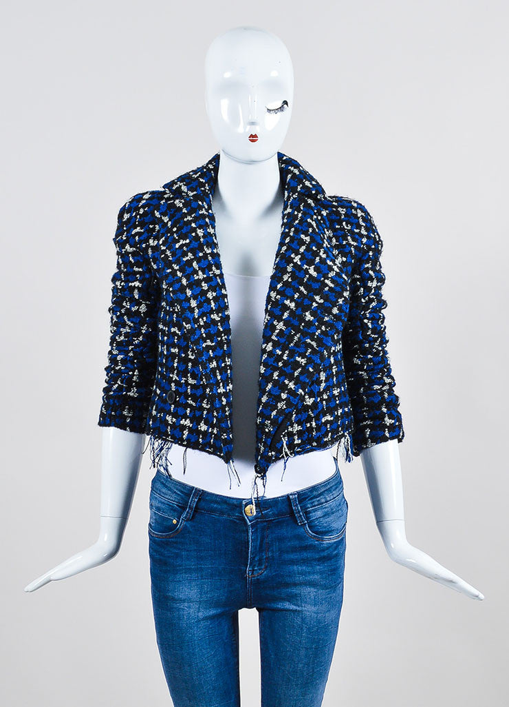 "Black and Blue Tweed Haider Ackermann Cropped ""Neurotico"" Jacket Frontview"