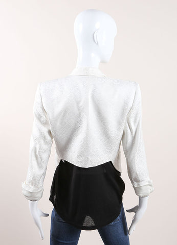 Helmut Lang White Woven Brocade Tailored Cropped Blazer Backview