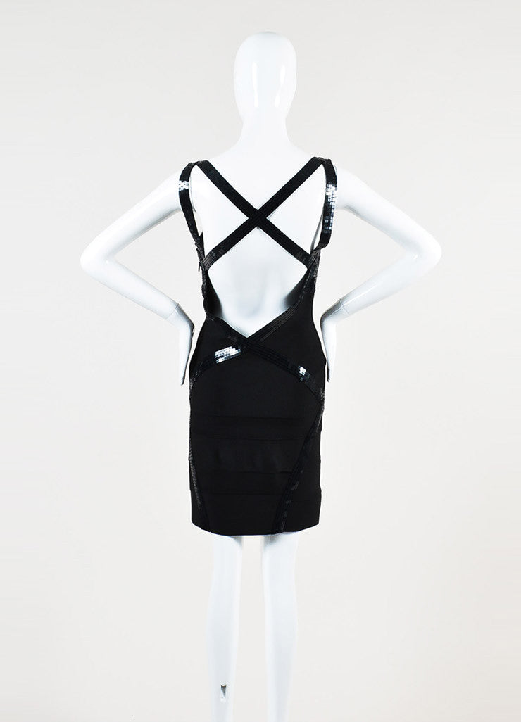 Herve Leger Black Sequin Cross Strap Sleeveless Bandage Dress Backview