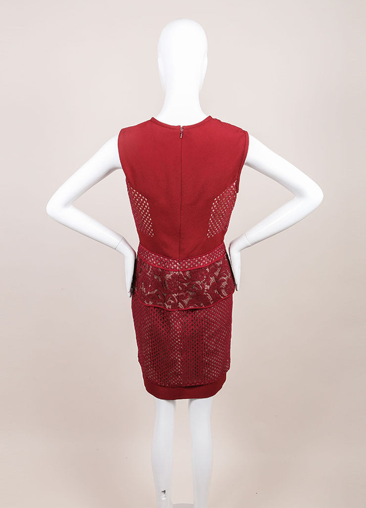 J. Mendel New With Tags Red Jasper Mixed Lace and Textured Crepe Sheath Dress Backview