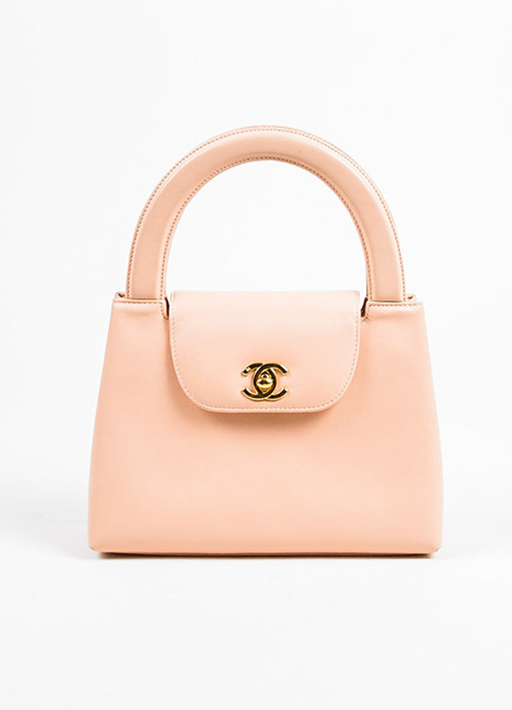 Pink Chanel Leather 'CC' Stand Handle Structured Bag Front