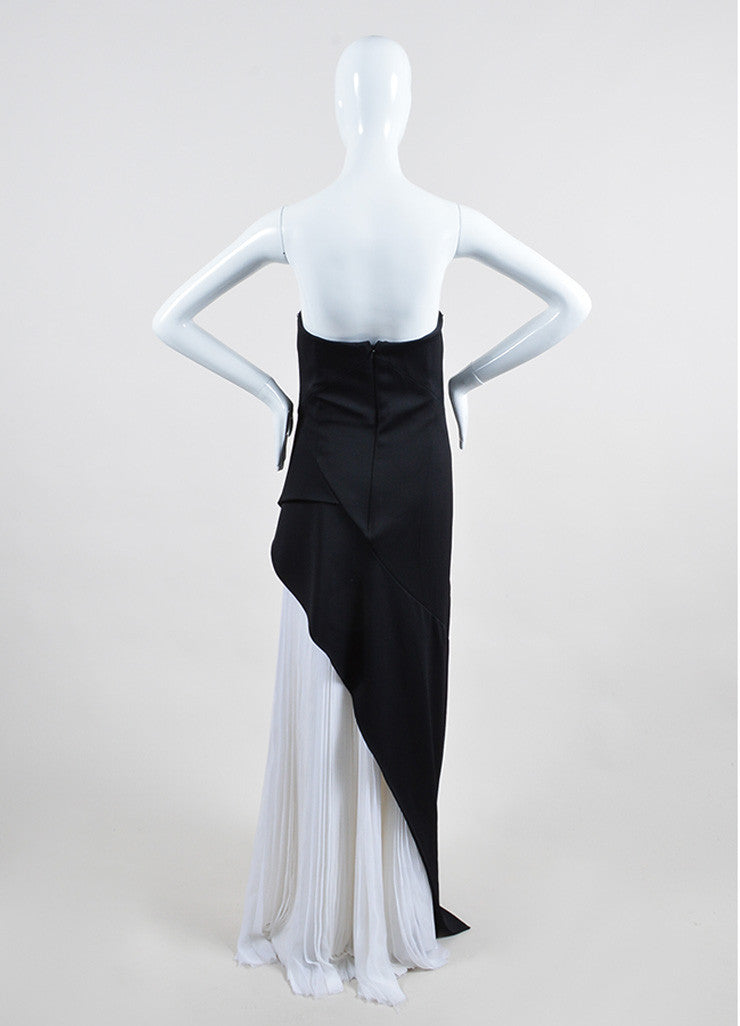 Black and White J. Mendel Silk Chiffon Layered Gown Back