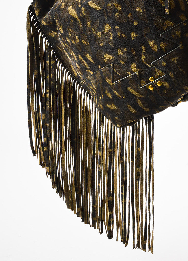 "Jerome Dreyfuss ""Kaki"" Green Suede Leopard Spotted Fringed ""Mario"" Bag Detail 3"