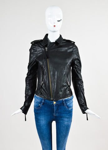 Joie Black Leather Moto Jacket Frontview 2