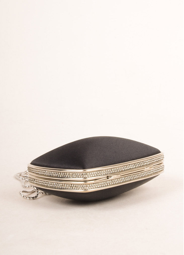 Judith Leiber Black Satin Rhinestone Embellished Clutch Bag Bottom View