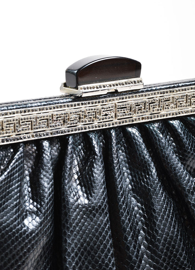 Judith Leiber Black Reptile Leather Rhinestone Frame Chain Strap Clutch Bag Detail 2