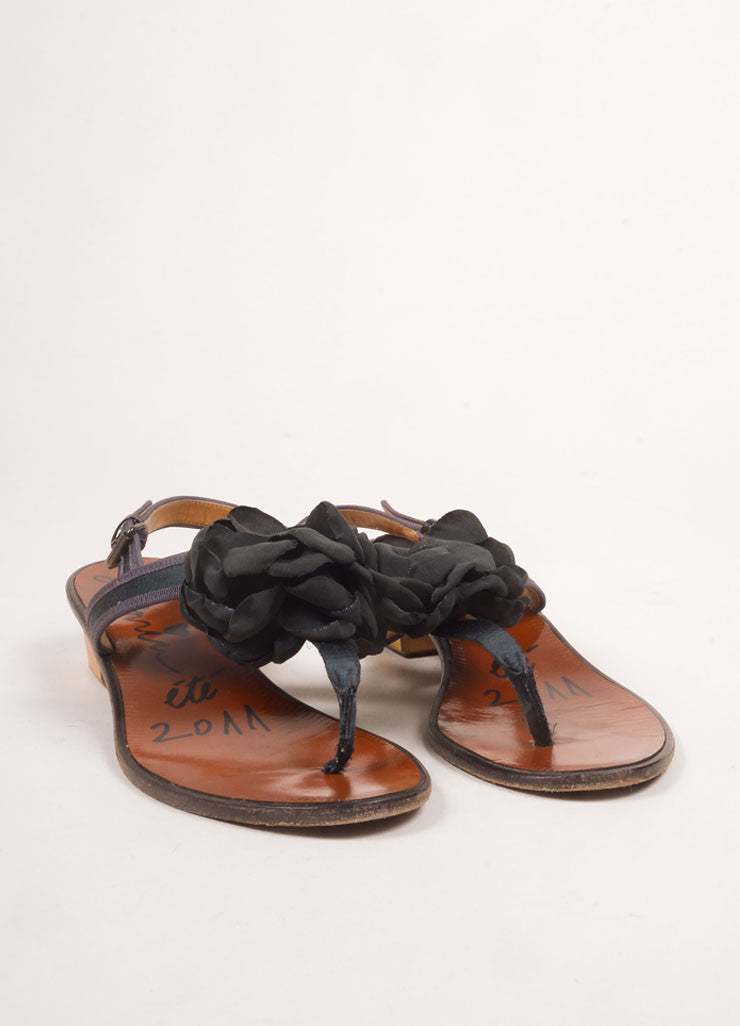 Lanvin Black and Dark Grey Satin Trim Flower Applique Thong Sandals Frontview