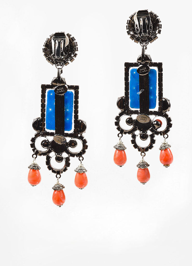 Blue and Orange Lawrence Vrba Rhinestone Carved Stone Clip On Statement Earrings Backview