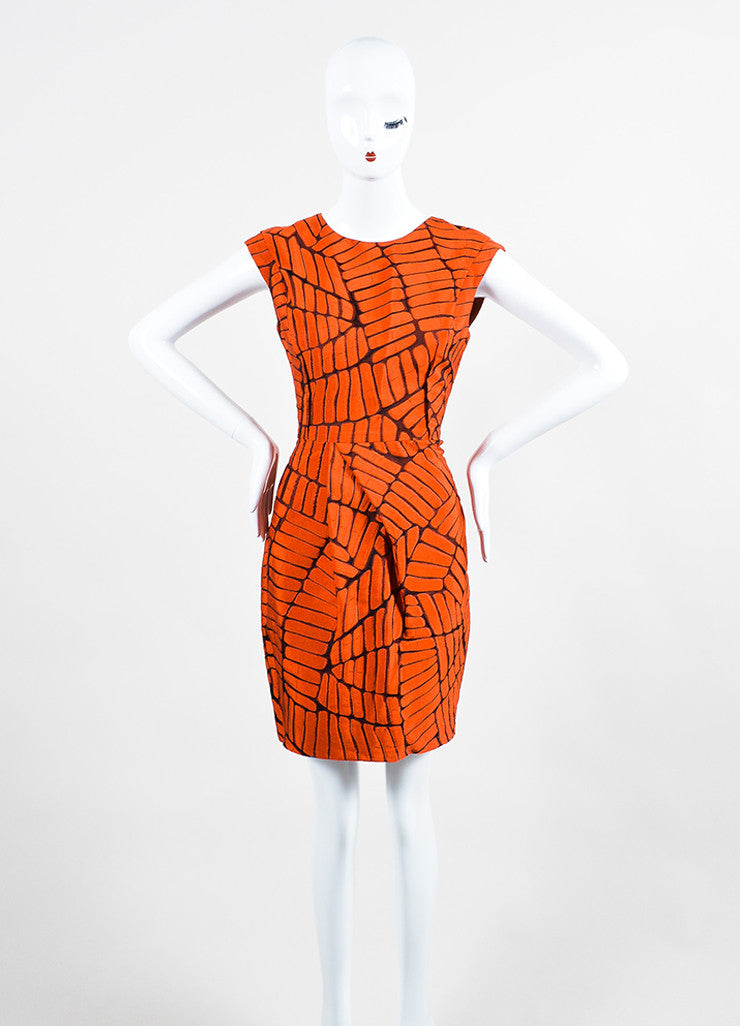 Lela Rose Burnt Orange Silk Abstract Burnout Asymmetrically Pleated Dress Frontview