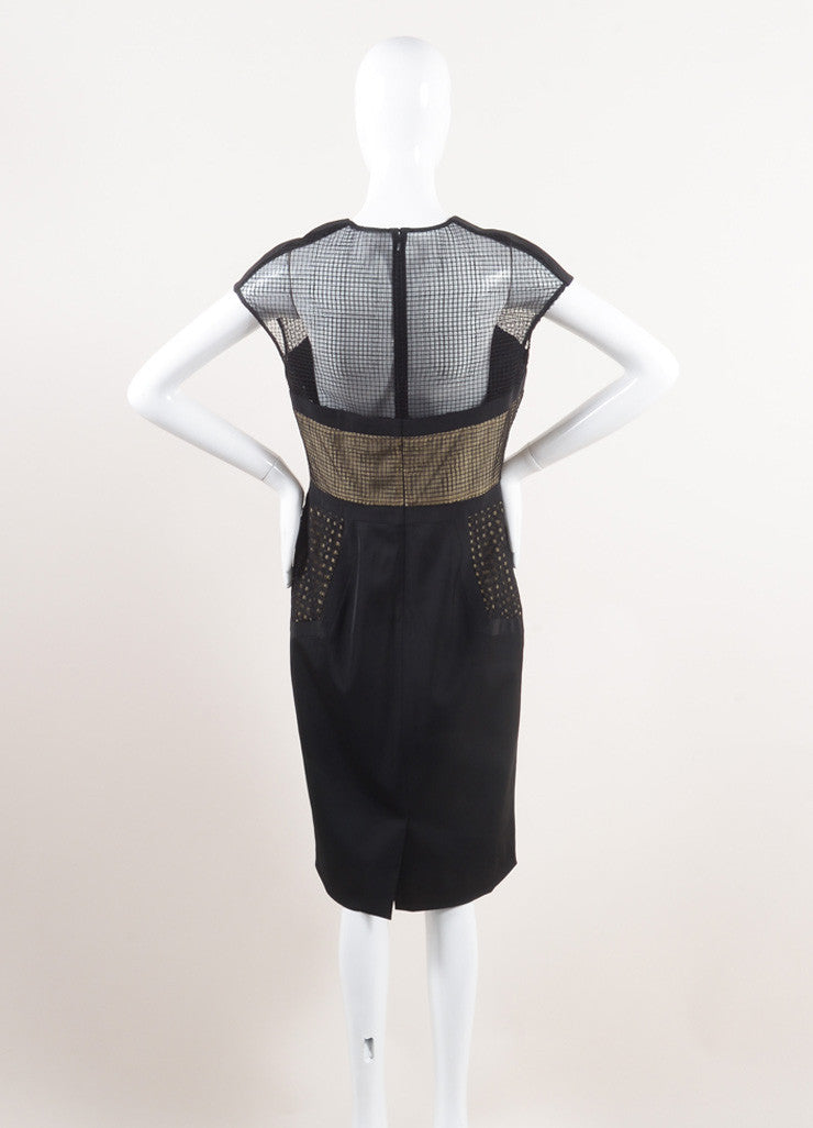 Lela Rose New With Tags Black and Nude Wool Blend Mesh Insert Sleeveless Shift Dress Backview