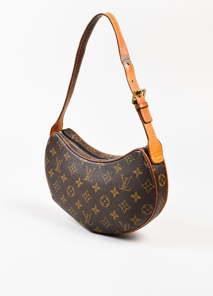 "Brown and Tan Louis Vuitton Coated Canvas Monogram ""Croissant PM' Shoulder Bag Sideview"