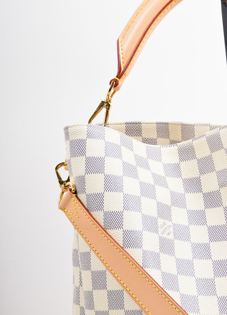 "Louis Vuitton Cream and Blue Coated Canvas Checkered ""Damier Azur Soffi""  Bag Detail 2"