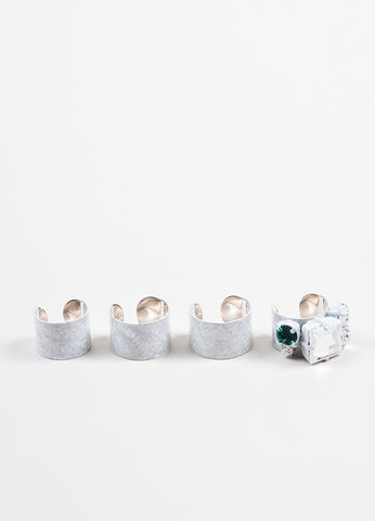 Maison Martin Margiela White Silver Toned Rhinestone Painted Rings Set of 4 Sideview