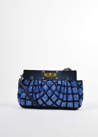 Blue Marc Jacobs Suede Leather Rhinestone Embellished Small Shoulder Bag Frontview