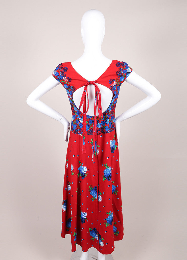Marc Jacobs New With Tags Red and Blue Floral Print Cap Sleeve Open Back Dress Backview