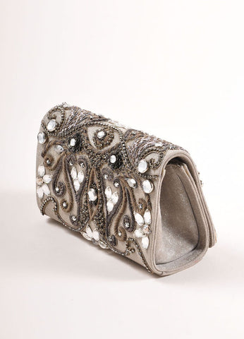 Marchesa Grey Suede Leather Metallic Embroidered Jeweled Clutch Bag Sideview