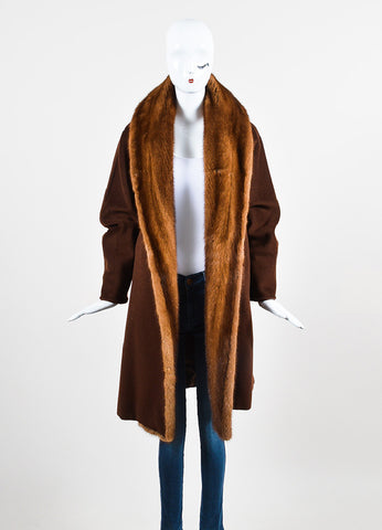 Brown Max Mara Wool Mink Trim Long Sleeve Wrap Coat Frontview