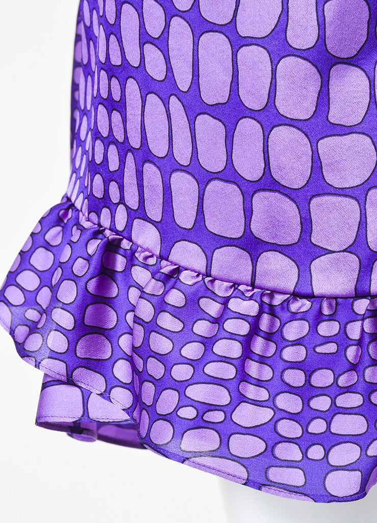 Moschino Cheap and Chic Purple Silk Reptile Print Ruffle Dress Detail