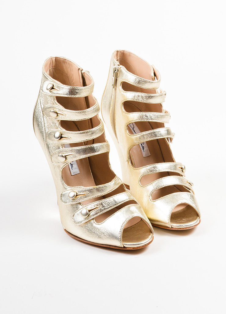 "Oscar de la Renta Gold Metallic Leather Strappy ""Dakota"" Wedge Booties Frontview"