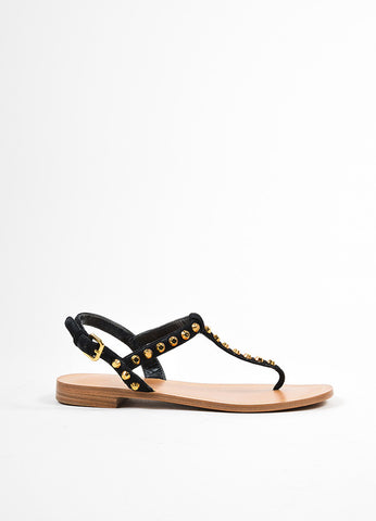 Black and Gold Prada Suede Leather Studded Embellished Flat Thong Sandals Sideview