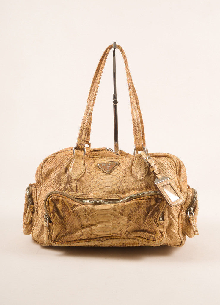 Prada Limited Edition Tan Python Leather Shoulder Bag Frontview