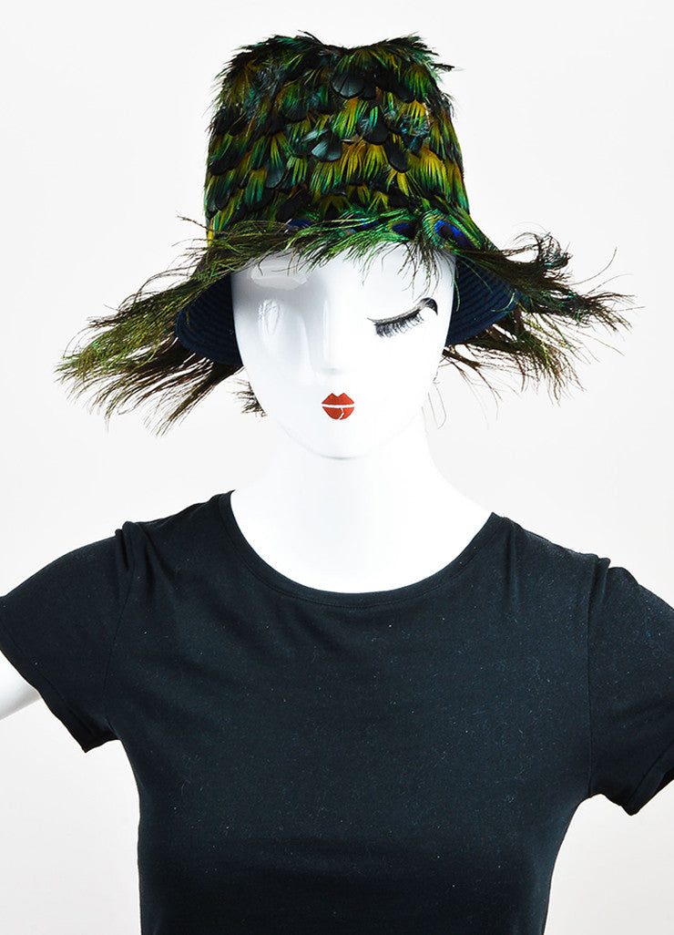 Prada Green, Blue, and Orange Peacock Feather Fedora Hat Frontview