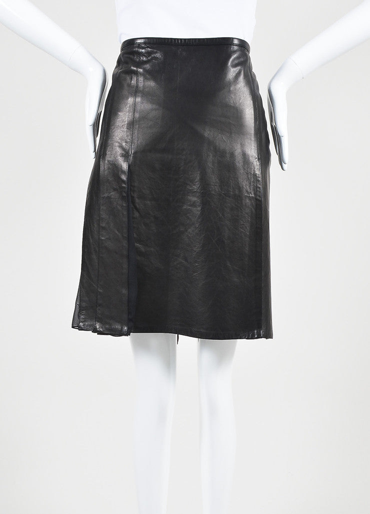Reed Krakoff Black Leather Chiffon Pleated Side Slit Skirt Front 2