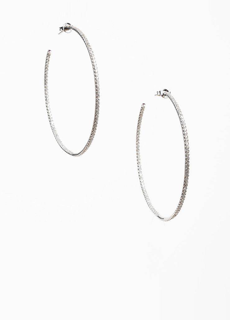 18k White Gold and Micro Pave Diamond Roberto Coin 55mm Open Hoop Earrings Frontview