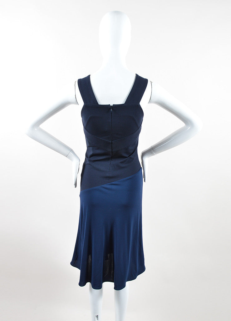 Navy Blue Stella McCartney Bicolor V-Neck Sleeveless Dress Backview