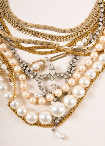 Tom Binns Gold Toned and Faux Pearl Rhinestone Multi Chain Necklace Detail