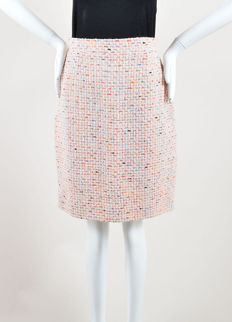 Chanel Pastel Pink and Multicolor Wool Tweed Pencil Skirt Frontview