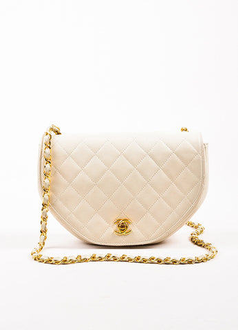 Chanel Cream Leather Quilted Hexagonal 'CC' Turn Lock Cross Body Flap Bag Frontview