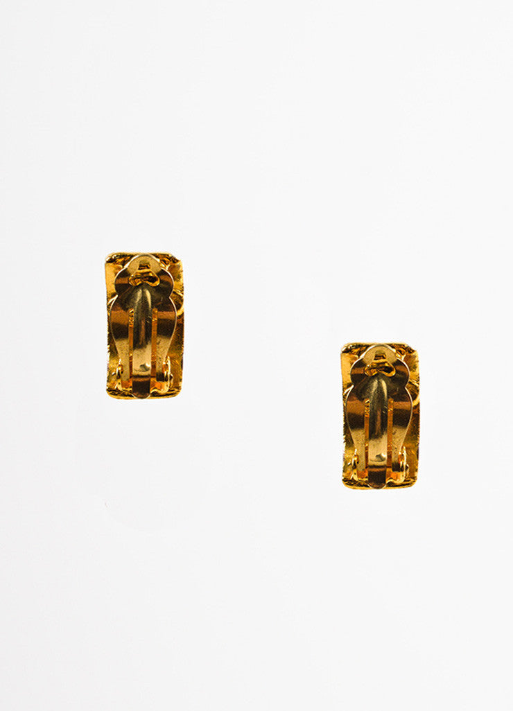 Gold Toned Chanel Hammered Wide Huggie Clip On Earrings Backview