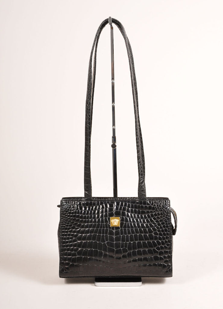 Gianni Versace Black Crocodile Embossed Leather Small Shoulder Bag Frontview